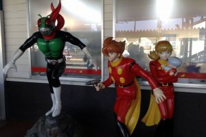 Manga figure statues greet visitors to Ishinomaki Station