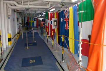 <p>The deck 3 boarding area of the cruise ship with international welcome</p>