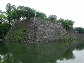 The high stone walls are all that remain of Yatsushiro Castle