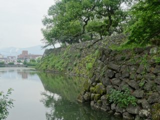 The moat that once encircled the castle is also still intact