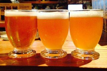<p>Baird Taproom Harajuku&nbsp;beer flight. Rising Sun Pale Ale, Wabi-Sabi JPA and Numazu Lager.</p>
