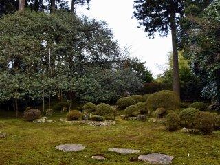 日野山系を借景した庭園。春霞に隠れ、残念ながら山は見えなかった。