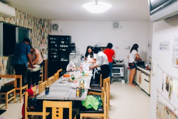 <p>Sometimes the staff hold a dinner party, where guests can join in and cook their meals together.</p>
