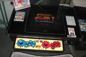 A tabletop version of Street Fighter II in mint condition