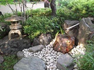 A lantern and rock garden