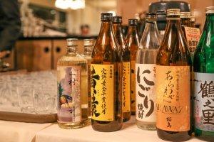 Sake bottles on display