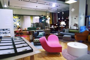 Chic and colorful designs and products on display in this beautiful interior design store