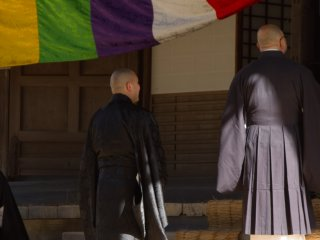 Priests waiting to enter a temple