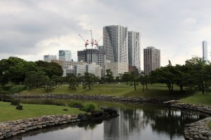 Hamarikyu Garden, one of the best nature spots of Tokyo, is completely surrounded by Shiodome district's skyscrapers