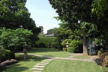 <p>The upper garden is carefully laid out and tended</p>