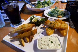 Fish and Chips at Two Dogs.