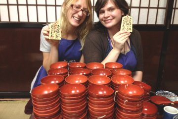 <p>We ate a combined total of 255 bowls of wanko soba, so we definitely earned these commemorative plaques.</p>