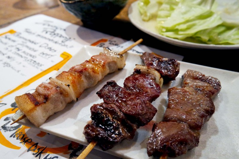 <p>A chicken, beef, and pork skewer&nbsp;</p>