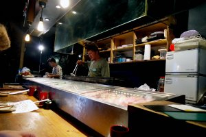 Where the skewers are prepared and cooked