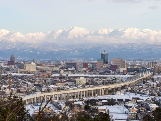 View of Tateyama in winter from nearby Toyama City