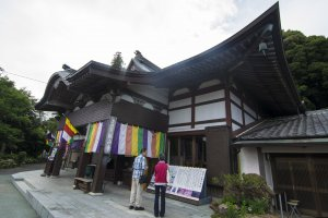 The Kanzanji Temple building, decked in colourful Soto Zen Buddhism livery.