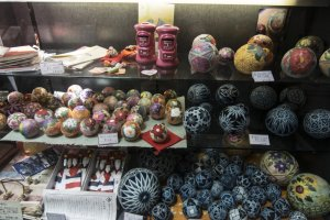 The round balls here on display are called temari, literally 'handball'. I would imagine it used to be a sport, until the decorations became so intricate it is now more of an art form.