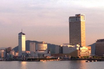 Takamatsu city glowing in the late afternoon.