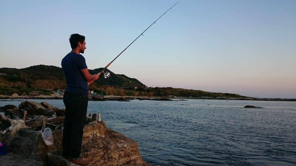 Fishing as the sun sets
