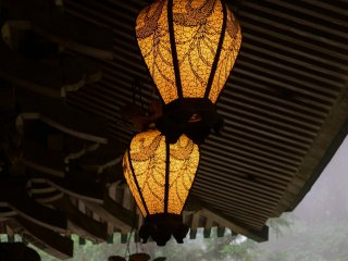Lanterns haning from the roof