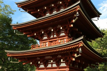 <p>The 3-storey pagoda of Okadera. The original pagoda&nbsp; was knocked over by a typhoon in 1492. The present day structure was constructed in 1986</p>