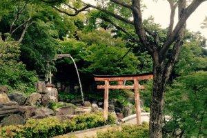 Небольшой островок синтоизма на территории буддийского храма. Святилище посвящено богине Бендзайтэн - Сарасвати, проще говоря.