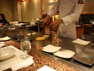 All the tables are not in front of the teppan, so try to get a place there if you want to enjoy dishes prepared in front of you.