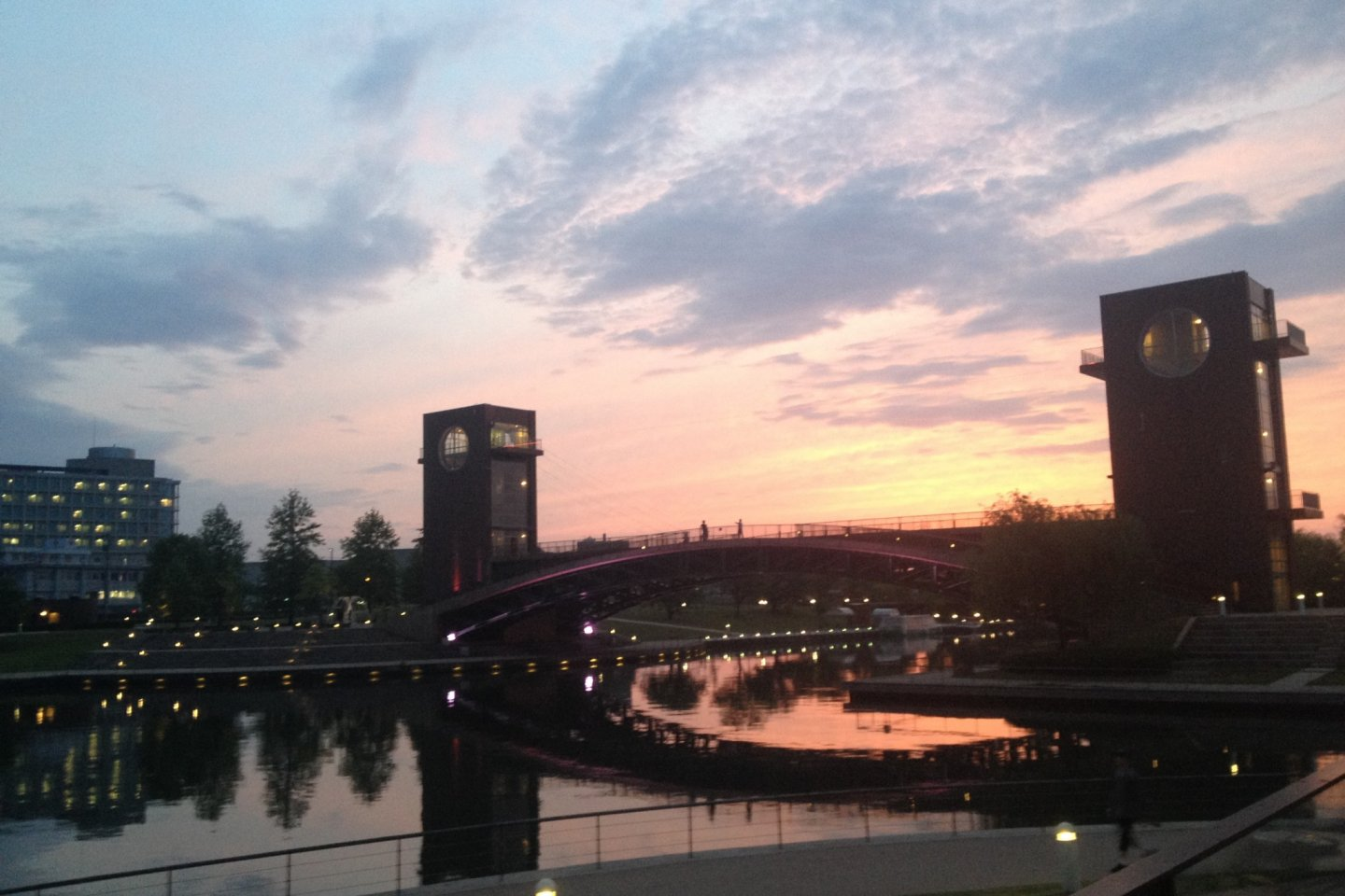 Sunset at Kansui Park's Tenmon Bridge from the porch of Starbucks