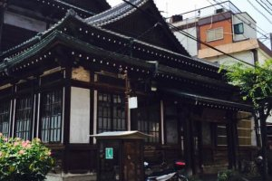 A closer look at the Meiji-style architecture making this particular onsen look more like a temple than a bath-house