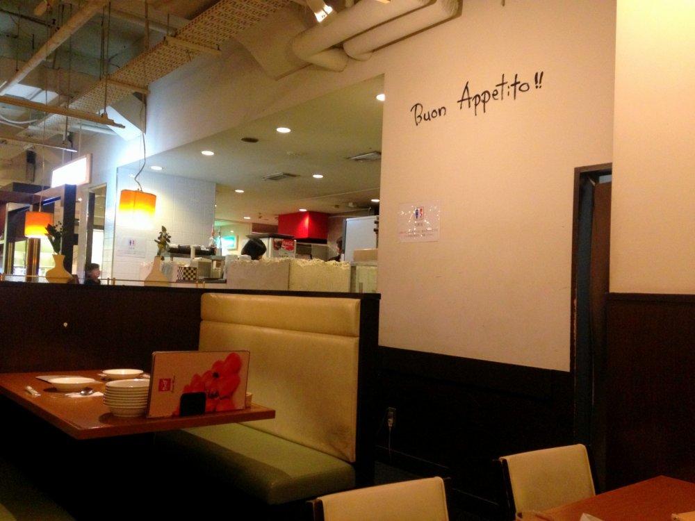 """""""Buon Appetito""""라는 환영 문구. '맛있게 드세요'란 말이다."""