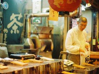 A tea shop fills the air with a faint aroma of roasted tea