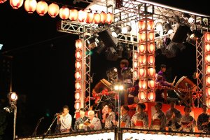 Yagura,the bandstand for the musicians and singers of the Obon music.