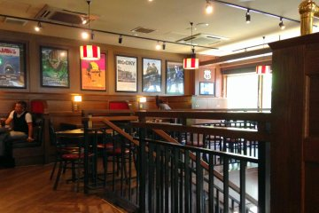 <p>The second level of the restaurant, though casual, feels comfortable because of its wooden interior.</p>