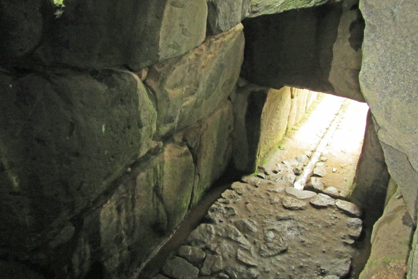 Looking down on the burial Chamber and entrance of the Ishibutai from a gap in the ceiling