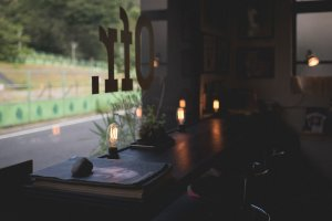 Window seating to read, drink and eat at