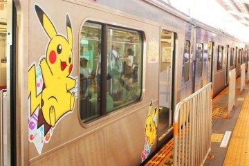 <p>Pikachu on the train to Jiyugaoka!</p>
