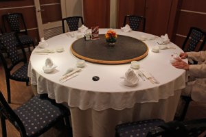The table in our private dining room. The lazy Susan turntable is fun and convenient