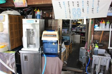 <p>The machine on the left is the one used to grind and mix ice cream and fruit</p>