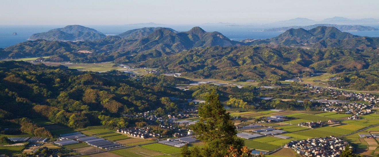Panoramic view from Mt. Kaya overlooking the rural Itoshima Peninsula