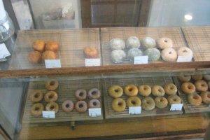 Doughnut selection at the counter