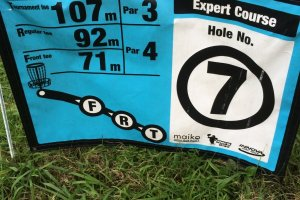 Course marker at the tee.