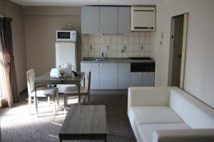 Общий вид комнаты с кухней
