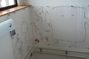 hand drawn by Mizuki Shigeru in the stairs leading to the second floor