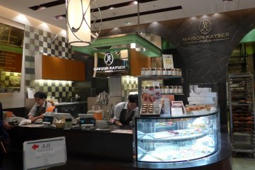 <p>You can find desserts near the front counter.</p>