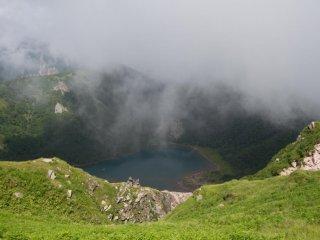 Crater lake Goshikinuma from above