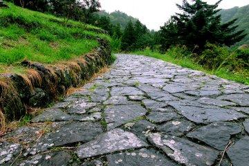Rough paving stone path leading upward