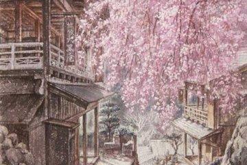 Beautiful spring scene with weeping cherry tree in Akasawa-juku, painted by artist Yoshihiro Tanamachi