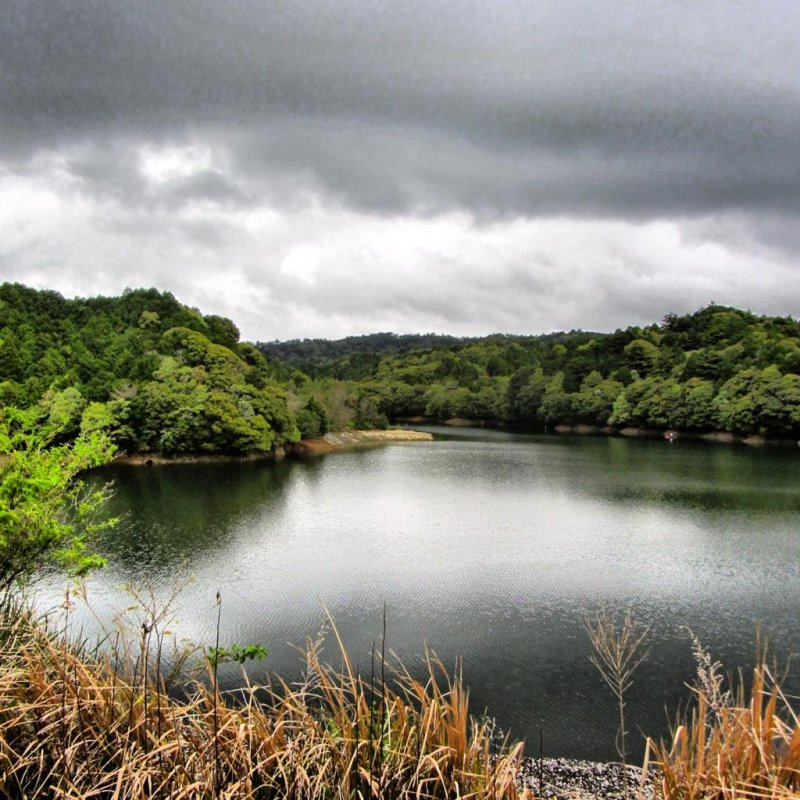 The dam from the trails at Uchiurayama