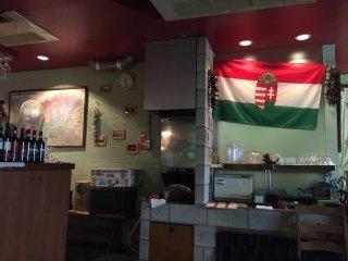 Конечно же, на стене висит флаг Венгрии