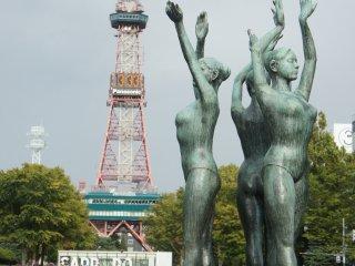 Bernari bersama di Taman Oodori, Sapporo.